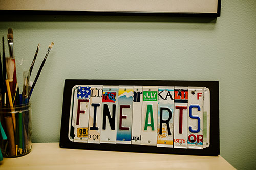 Fine Arts license plate artwork