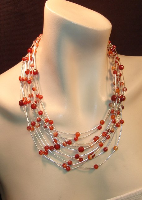 Flowing Stone necklace and earrings