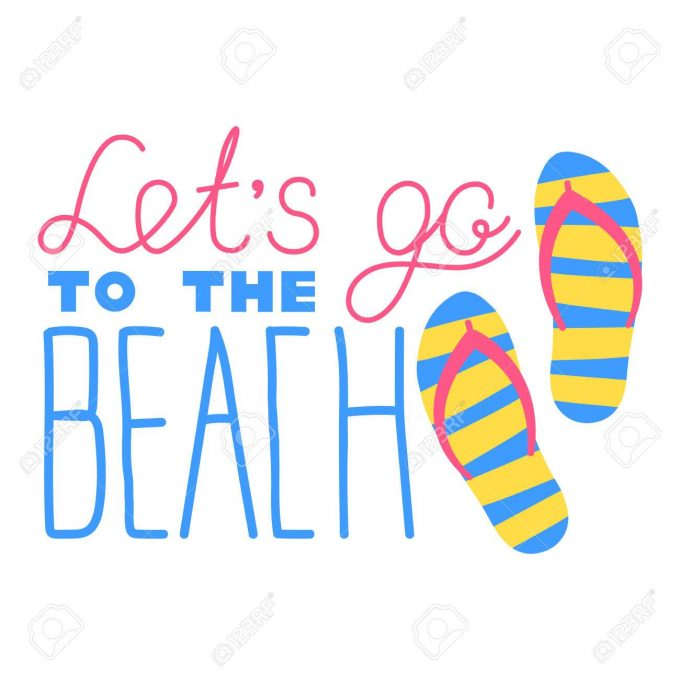 Lettering hand drawn lets go to the beach with slates or flip flops logo